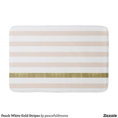 Peach White Gold Stripes Bathroom Mat