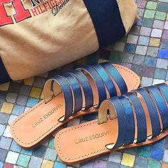 Leather handmade sandals. Ready for the weekend ?☀️♀️ #summer #pool #holidays #sandals #leather #blue #weekend #shoes