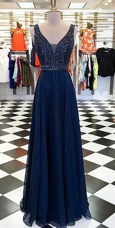 2018 prom dress, navy blue chiffon long prom dress, party dress, dancing dress, senior prom dress