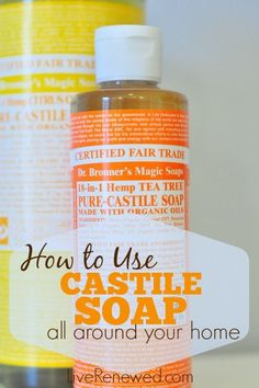 How to use castile soap all around your home. Did you know that you can replace many of your personal care and cleaning items with non-toxic castile soap? Here's how.