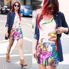 Minkpink Dinosaur Dress, Glassons Chambray Shirt, Dolce Vita Leather Booties