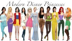 Modern Disney Princesses Sims 4 Lookbook