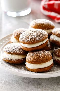 Gingerbread Whoopie Pies - everyone always begs me for this recipe! Super soft gingerbread cookies stuffed with luscious cream cheese filling! Fall Dessert Recipes, Holiday Baking, Christmas Desserts, Christmas Baking, Holiday Recipes, Thanksgiving Baking, Holiday Pies, Thanksgiving 2020, Holiday Cookies