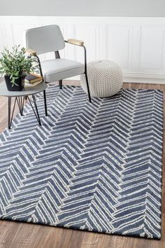 Tuscan Viga Chevron Denim Rug | Contemporary Rugs