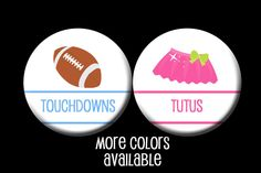 Touchdowns or Tutus Gender Reveal Party Favors 1.25 inch pinback buttons  Team Boy Team Girl Buttons Pins Badges by PutOnYourPartyCap on Etsy
