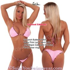 Limited Edition baby pink with pink trim two tone butterfly swimsuit.