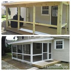 Screen in your porch with screen tight... inexpensive compared to aluminum posts and looks great! Screened Porch Designs, Screened In Patio, Back Patio, Backyard Patio, Front Porch, Front Doors, Enclosed Porches, Decks And Porches, Gazebos