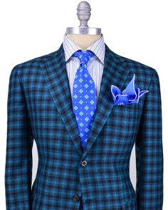Stanley Korshak | Kiton | Teal and Black Plaid Sportcoat https://ru.pinterest.com/AlyTseev/