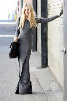 Maxi dresses are summer uniforms, but they can work for the fall too! This grey maxi dress is sexy yet covers everything- perfect for fall.  With a neutral color it can be dresses up and transformed with the right accessories. It looks great with chunky heels or even boots.