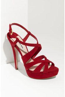 Red Strappy Platform Heels