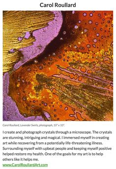"My micro-crystal fine art piece ""Lavender Swirls"" received an Award of Excellence in Manhattan Arts International's online exhibition ""The Healing Power of Art"" - so proud!"