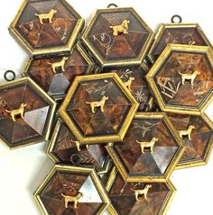 From the Museum Bee Collection by Trace Mayer. Made with Antique American Frames and Gilt Brass Ormolu Golden Yellow Retrievers.
