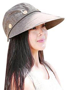 3d5c4219ba6 Bellady Womens Button 2 in 1 Beach Sun Hat Visor Hat With Big Brim Coffee