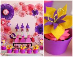 Look at those flowers...love it. Tangled Inspired Party with Lots of Super Cute Ideas via Kara's Party Ideas KarasPartyIdeas.com         Visit www.fireblossomcandle.com for more party ideas!