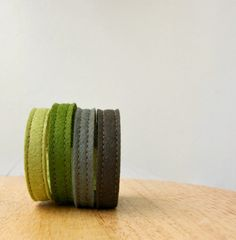 Wool Felt Bracelet Wristband Cuff // Evergreen