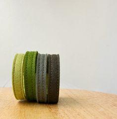 Wool Felt Bracelet Wristband Cuff // Evergreen