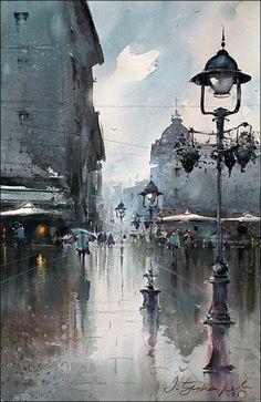 Lamps on the Square, watercolor, 36x55 cm Dusan Djukaric