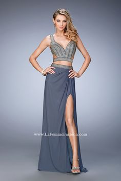 You are sure to feel glamorous and beautiful in La Femme Style #22319 available at Whatchamacallit Boutique