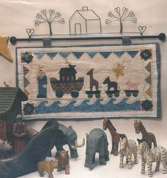 Noah's+Rolling+Ark+Quilt+Pattern+Uncut+Wall+Hanging+Noah's+Ark