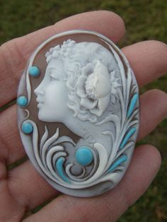 Signed Diluca Large Shell Unframed Cameo with Turquoise Stones