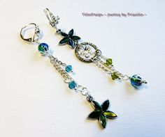 Assymetric Earrings Blue Green by TillaDesigns on Etsy, $9.95