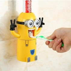 Minions Automatic Toothpaste Dispenser It's no touch and no mess, toothpaste dispenser for children and adults alike.The water can dry off the toothbrush and does not settle in a glass.