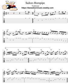 Sailors Hornpipe / Popeye The Sailor Man Theme Tune Guitar Tab / Sheet Music + Chords Music Chords, Guitar Sheet Music, Wildwood Flower, Irish Songs, John Ryan, Easy Guitar Songs, Popeye The Sailor Man, Theme Tunes, Lord Of The Dance