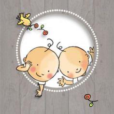 Geboortekaartje voor een tweeling. De tweeling neemt een kijkje door een houten cirkel, met vrolijke rode bloemetjes en een vogeltje.