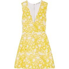 Alice + Olivia Pacey guipure lace mini dress ($605) ❤ liked on Polyvore featuring dresses, marigold, floral dress, lace cocktail dress, fit and flare cocktail dress, high-low dresses and yellow lace dress