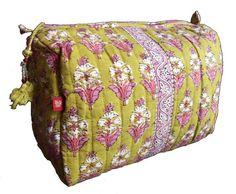 efc5a2cd448e Hand Block Printed Toiletries Bag - Sage floral