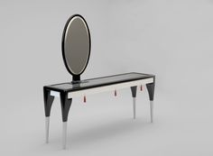 SECRET PASSION 2.0 Beauty Table by Ekaterina Elizarova #beautytable #console #mirror #bigmirror #glass #silk #beauty #wood #secretpassion  #steel #chrome #black #blackandwhite #furnishing #apartment #unique #design #furniture #ekaterinaelizarova #elizarova #limited #edition #madeinitaly #handcrafted #elizarovadesign #limitededition #art #modernart #collection #luxury #luxuryfurniture #luxuryliving #luxurydesign