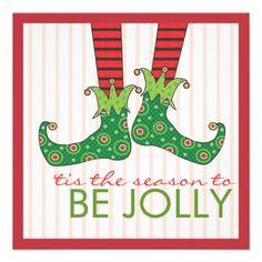 Be Jolly Fun Elf Feet Holiday Christmas Party Custom Announcements