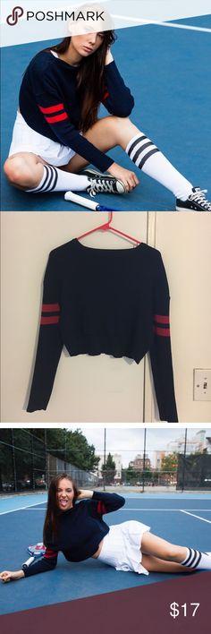 Brandy Melville crop athletic sweater Brandy Melville Cropped Athletic Sweater in Navy with Red stripe on the arm Brandy Melville Tops Sweatshirts & Hoodies
