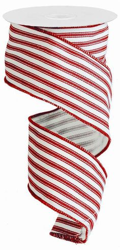 2.5 Red Stripe Ribbon Red White Ticking by CustomWreathDecor