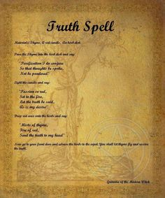 633 best Wiccan Spells images on Pinterest in 2018   Witchcraft     Truth spell   Pinned by The Mystic s Emporium on Etsy
