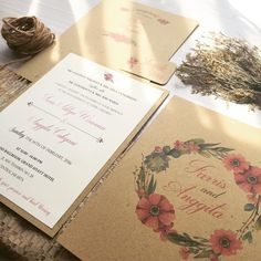 """""""Farris and Anggita Engagement Invitation Theme: Rustic with red flowers Size…"""