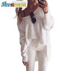Sexy off shoulder split knitted sweater Women brand black pullovers knitwear Autumn winter white jumper pull femme