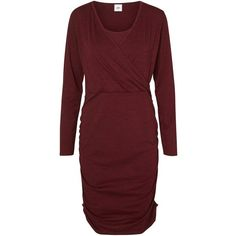 Mamalicious Miron Tess Long Sleeve Jersey Maternity Nursing Dress (£35) ❤ liked on Polyvore featuring maternity