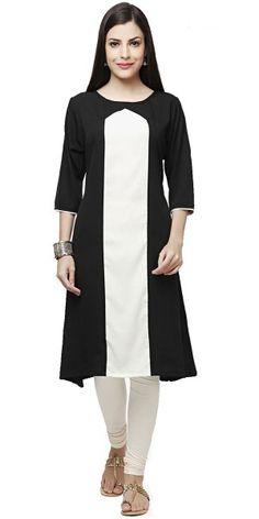 Dazzling Black And White Cotton Kurti.