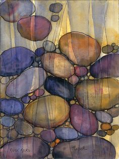 Original Watercolor - River Rocks. $40.00, via Etsy.