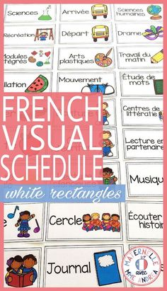 Perfect for displaying in your classroom and keeping your students on track throughout the day! Kindergarten Classroom Organization, Kindergarten Goals, Classroom Schedule, Classroom Management, French Teaching Resources, Teaching French, Teaching Ideas, Back To School Activities, School Ideas