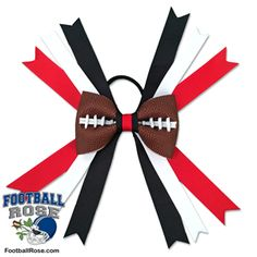 Handmade Football Hair Bow made from real football leather with red, black and white ribbon accents inspired by Tampa Bay football Football Hair Bows, Football Fans, Different Font Styles, Hair Fair, Black And White Ribbon, World Crafts, Elastic Hair Ties, Making Hair Bows, Craft Shop