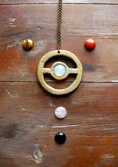 Opal necklace, wooden necklace, gemstone raw crystal healing necklace, rose quartz jewelry, acrylic necklace, boho jewelry, tribal, pokeball