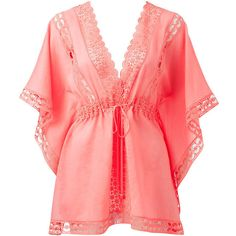 Forever New Marella Lace Insert Kaftan Top ($41) ❤ liked on Polyvore featuring tops, tunics, dresses, shirts, swimwear, coral, techno coral, caftan tunic, stringers shirts and red shirt