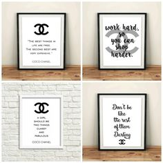 chanel logo set of 4 prints printable art watercolor bedroom furniture set bedroom coco chanel wall art decal set