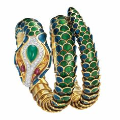 Gold, Green and Blue Enamel, Gem-Set and Diamond Snake Bracelet