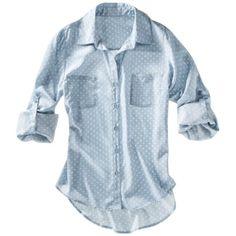Xhilaration® Juniors Printed 3/4 Sleeve Top - Chambray/Ivory Dot