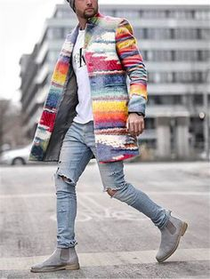 Stylish Coat, Rainbow Print, Fashion Pants, Mens Fashion, Fashion Coat, Fasion, High Fashion, Winter Fashion, Cotton Jacket