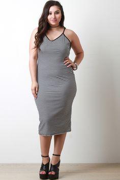 Striped Ribbed Knit Midi Dress