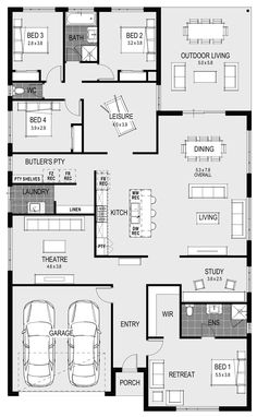 The Mediterranean 32 Floorplan The Effective Pictures We Offer You About dream Open Floor House Plans, Sims House Plans, Home Design Floor Plans, House Layout Plans, House Layouts, 4 Bedroom House Plans, Family House Plans, New House Plans, Dream House Plans